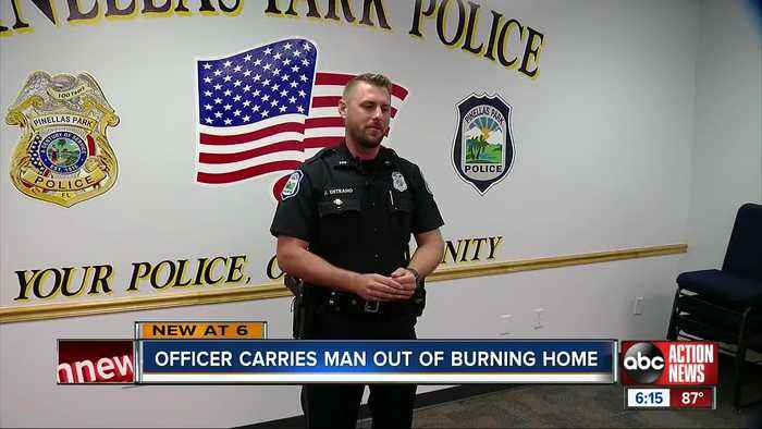 Pinellas Park police officer rushes into burning home to save 73-year-old man trapped inside