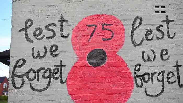 Patriot pub-goers decorate outside of boozer with giant poppies in time for Remembrance Day