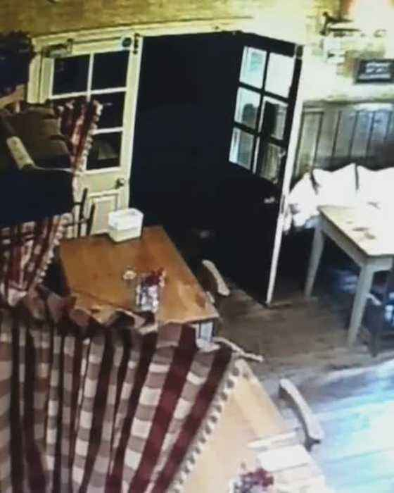 """Spooky moment of what appears to be a """"convincing"""" ghostly child-like figure stalking a pub waitress just days before HALLOW"""