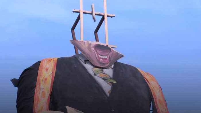 John Bercow effigy head torn off in high winds