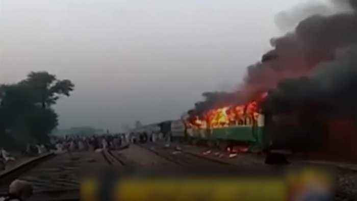 Dozens killed after gas stove sparks fire on Pakistan train