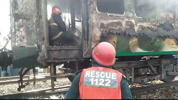 Pakistan train fire: At least 73 killed in gas explosion