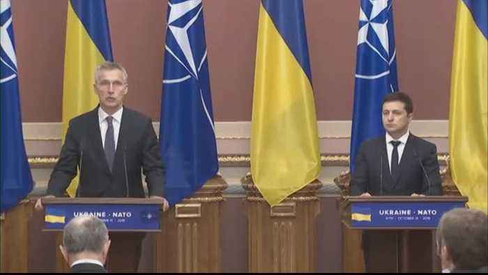 NATO chief in Ukraine says Russia must withdraw troops