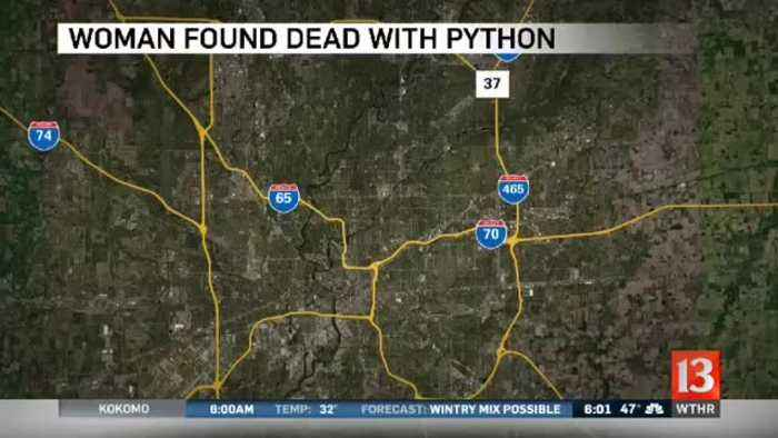 Indiana woman strangled by 8-foot python