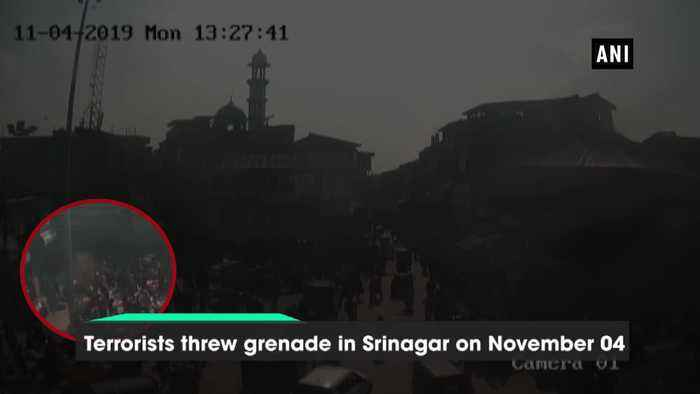 Video of terrorist throwing grenade in Srinagar market