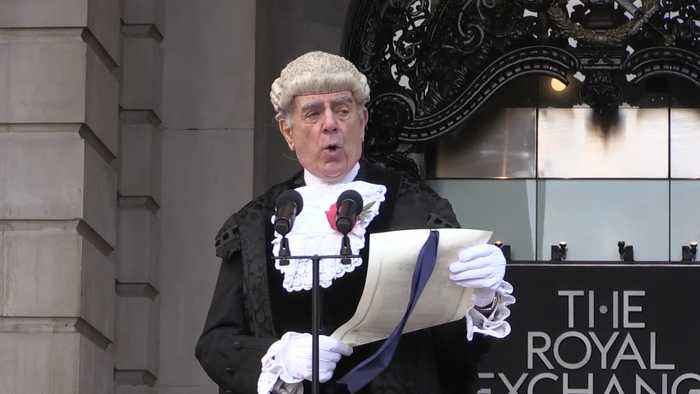 City of London's Common Cryer reads royal proclamation for new parliament