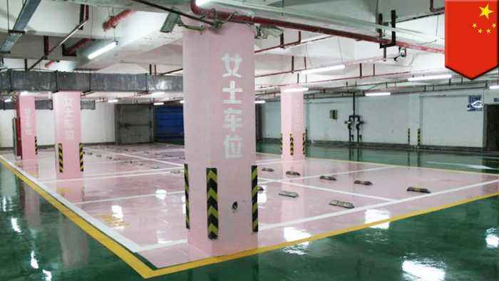 China parking lot has super wide spaces for female drivers