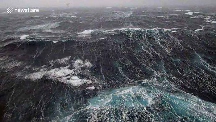 Disorientating footage shows waves crashing against oil rig in North Sea storm