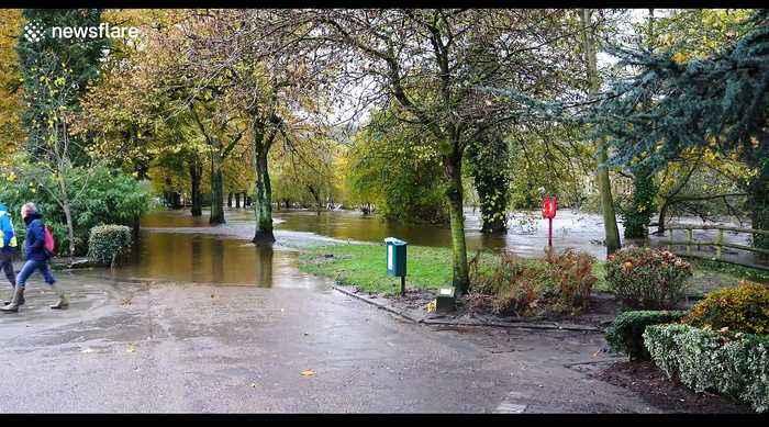 Matlock Town Council members assess the extensive flood damage in Matlock Derbyshire, UK