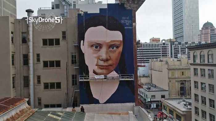 Mural in Downtown S.F. Depicts Swedish Teen Climate Activist Greta Thunberg
