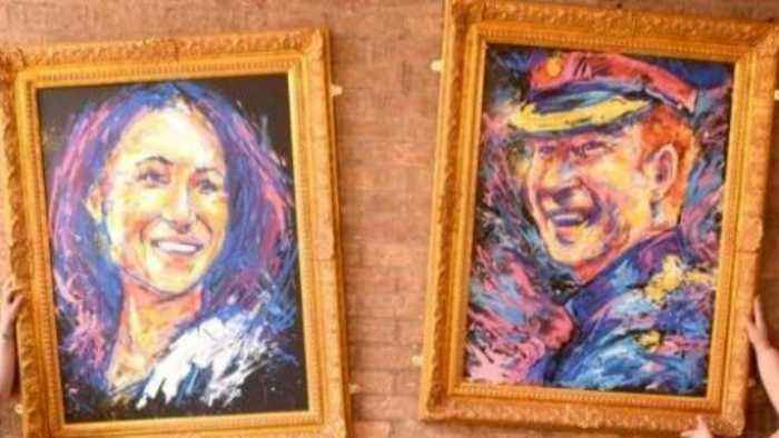 Paintings of Meghan and Harry Stolen Right Off of a Pub Wall