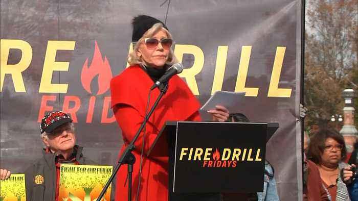 Jane Fonda Speaks At Fire Drill Fridays Rally