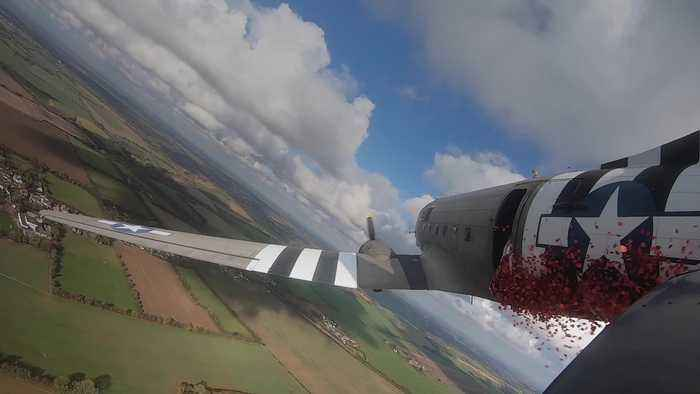 750,000 poppies dropped from Dakota over Dover