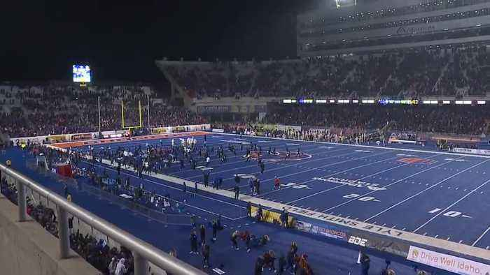 The Boise State Broncos beat Wyoming in overtime