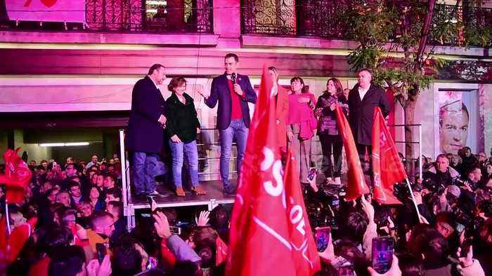 Spain's Socialists win election but fall short of outright majority