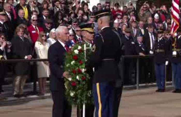 Pence lays a wreath, says every veteran a 'hero'