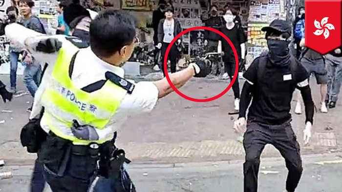 Hong Kong protester shot by cop at point-blank range