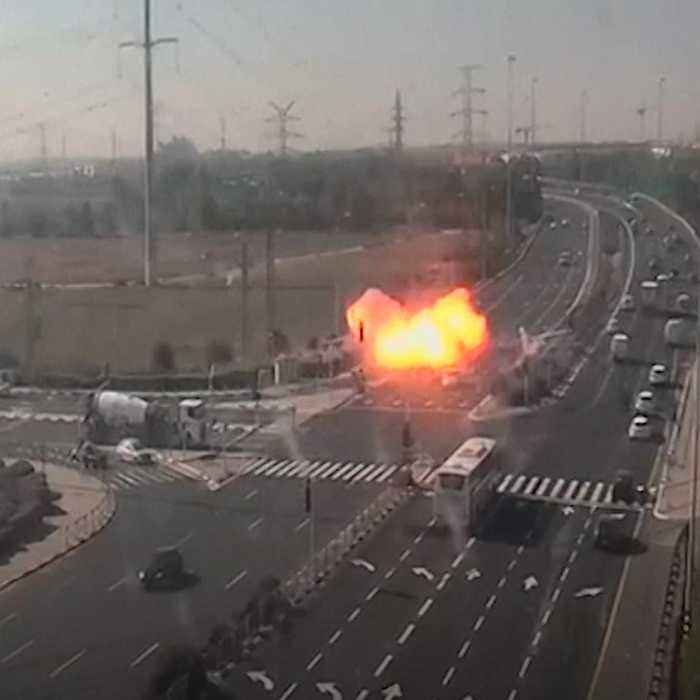Shocking footage shows rockets hitting a busy Israeli highway