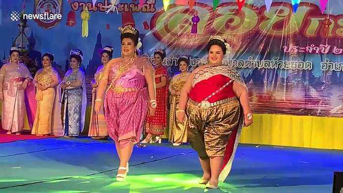 Plus size Thai women take part in beauty pageant to celebrate Buddhist festival