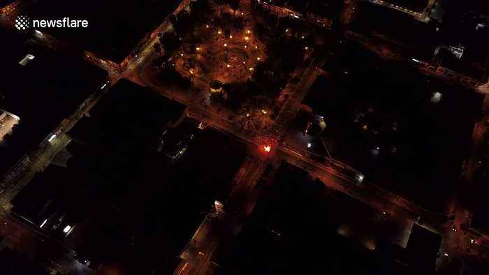 Drone footage of fire in Chile