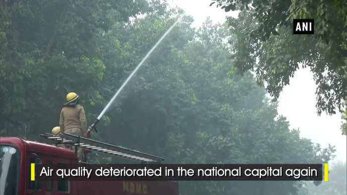 NDMC sprinkles water in the city as air quality goes severe in Delhi