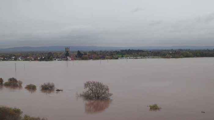 Dramatic drone footage shows extent of flooding in Tewkesbury