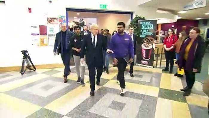 Boris Johnson visits Bolton University after fire