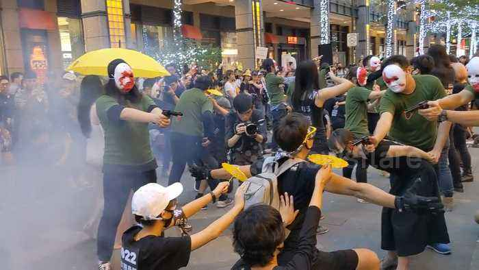 Street performance in Taipei in support of Hong Kong protest movement