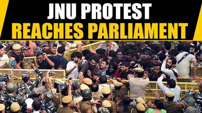 JNU students march to Parliament against fee hike, new hostel rules | OneIndia News