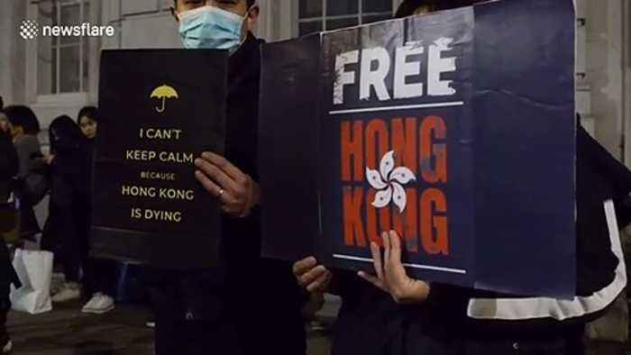 Hong Kong protesters stage sit-in outside London's Downing Street
