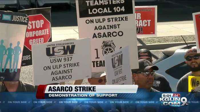 ASARCO workers picket at company headquarters as strike enters 6th week