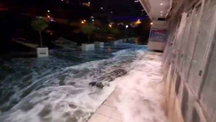 Huge Storm And Record Waves Batter Brit Tourist Hotspots