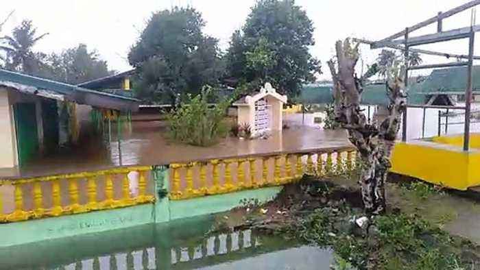 Homes flooded by tropical storm Fung-wong in the Philippines