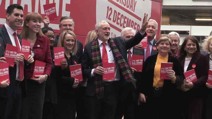 Jeremy Corbyn arrives for Labour manifesto launch