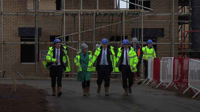 Boris Johnson lays bricks on campaign trail in Bedford