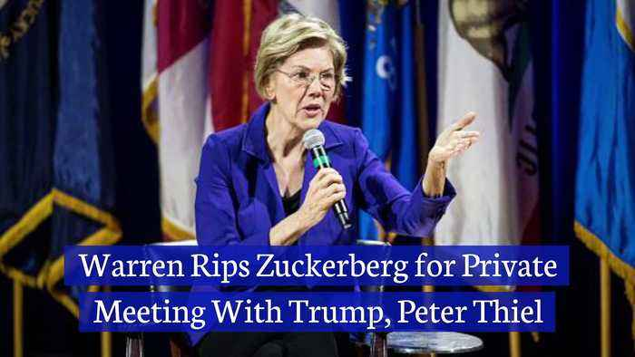 Warren Rips Zuckerberg for Private Meeting With Trump, Peter Thiel