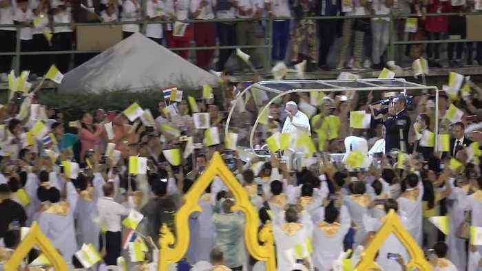 Pope Francis arrives to cheering crowds for Holy Mass in Thailand