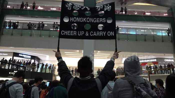 Hong Kong protesters stage peaceful demonstration in shopping mall