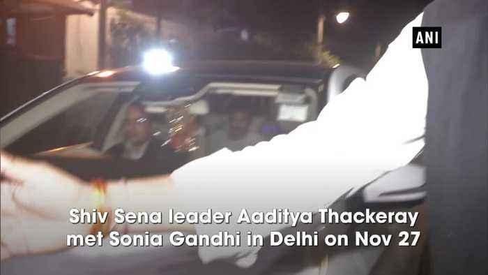 Aaditya Thackeray meets Sonia Gandhi invites her for CM swearing in ceremony