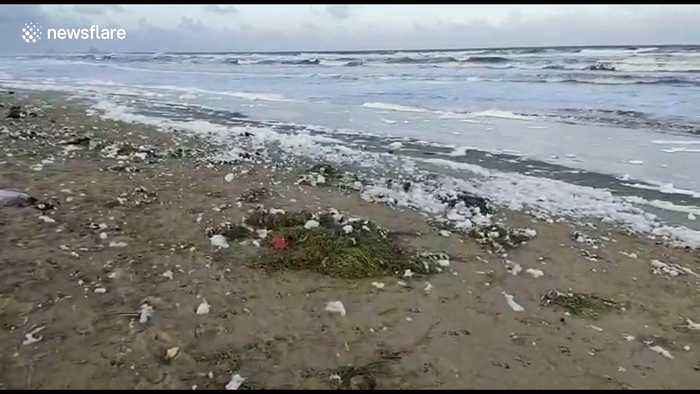 Famous beach in south India flooded with 'toxic foam'