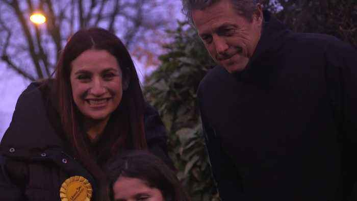 Hugh Grant canvasses with Luciana Berger