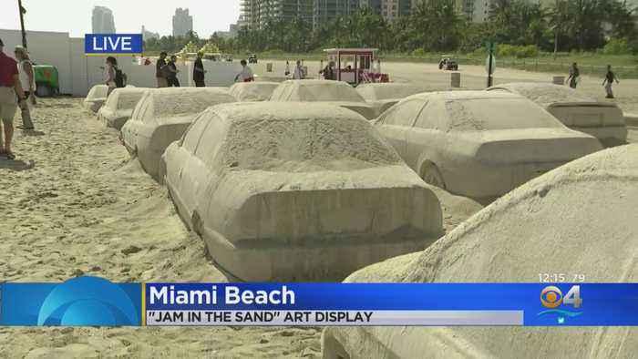Miami Beach Art Installation Creates Traffic Jam In The Sand