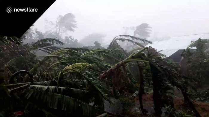 Village damaged by Typhoon Kammuri in The Philippines