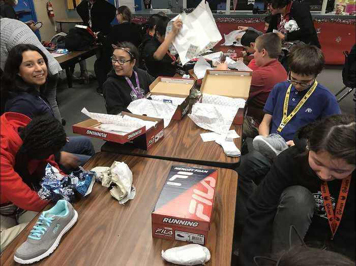 Low-income students in Las Vegas receive shoes