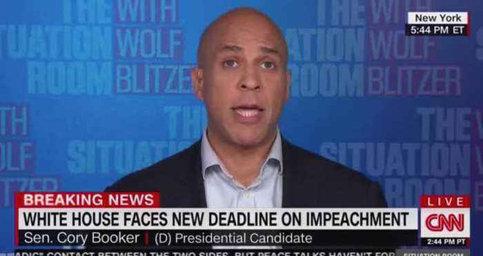 Booker Says Impeachment Inquiry 'Is a Moment of Patriotism, Not Politics'
