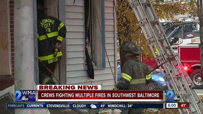 Multiple fires broke out in Southwest Baltimore from Sunday night into Monday
