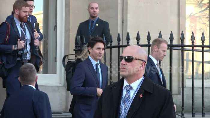 Canadian Prime Minister Justin Trudeau makes his way to NATO summit in London
