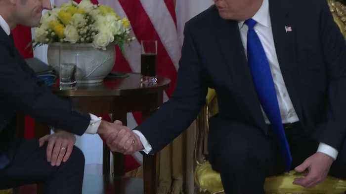 Donald Trump and Emmanuel Macron meet amid Nato tension