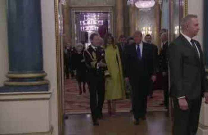Donald and Melania Trump attend Queen Elizabeth's reception at Buckingham Palace