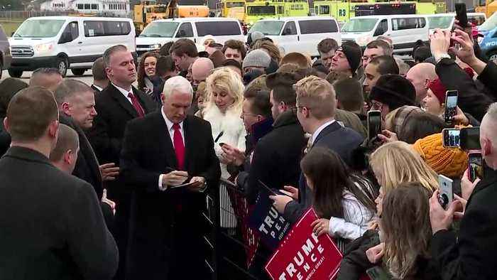 Vice President Mike Pence arrives in Michigan for bus tour and 'Keep America Great' rally